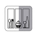 monochrome contour sticker with set frames with silhouettes cupcake and culinary elements Royalty Free Stock Photo