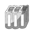 Monochrome contour sticker with standing books
