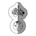 monochrome contour sticker of world with tree of knowledge Royalty Free Stock Photo