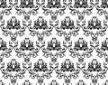Monochrome damask wallpaper Royalty Free Stock Image