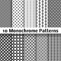 Monochrome different vector seamless patterns tiling endless texture can be used for wallpaper pattern fills web page background Stock Photos