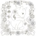 Monochrome doodle hand drawn cat washes in flowers frame. Anti stress illustration