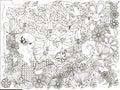 Monochrome doodle hand drawn girl with loving bird, flowers background, Lorem ipsum