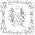 Monochrome doodle hand drawn hourglass with harts, in flowers frame. Anti stress