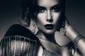 Monochrome elegant woman in accessories of stones studio Stock Photo