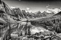 Monochrome filtered scenic view of Moraine lake, Rocky mountains Royalty Free Stock Photo