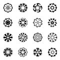 Monochrome floral icon set. Black vector flowers illustrations isolate Royalty Free Stock Photo