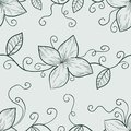 Monochrome floral seamless pattern in retro colors tints of grey Stock Photos