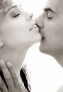 Monochrome gentle kiss intimate image of sensual couple foreplay Royalty Free Stock Photo