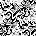 Monochrome graffiti lines and heart on a white background seamless pattern vector illustration Royalty Free Stock Photo