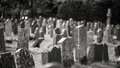 Monochrome graveyard with old headstones giving eerie feel Royalty Free Stock Photo