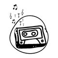 monochrome hand drawing of cassette tape in circle and musical notes Royalty Free Stock Photo