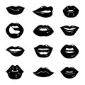 Monochrome illustrations of beautiful and glossy female lips isolated on white background