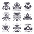 Monochrome labels or logos for billiard club. Vector illustrations of snooker balls