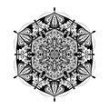 Monochrome mandala doodle element in boho style . Decorative round pattern, flower mandala, ethnic ornament, lace napkin Royalty Free Stock Photo