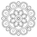 Monochrome mandala. A repeating pattern in the circle. A beautiful image for scrapbook.