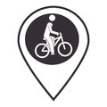Monochrome map pointer with man in bike