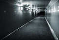 Monochrome photo of underground passage Stock Image