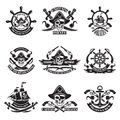 Monochrome pictures of pirate labels. Illustration of military ships, skull and guns