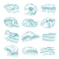 Monochrome pictures set of marine waves with different splashes. Vector illustration in hand drawn style
