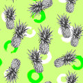 Monochrome pineapple on a light green background. Watercolor colourful illustration. Tropical fruit. Seamless pattern