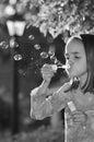 MOnochrome Portrait of Little Hispanic Girl Royalty Free Stock Photo
