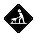 Monochrome road sign pictogram with man with wheelbarrow