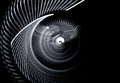 Monochrome screwdriving rotating abstract fractal