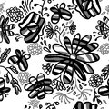 Monochrome seamless flower background this is file of eps format Royalty Free Stock Image