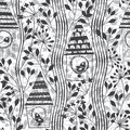 Monochrome seamless pattern with birds, birdhouses and flowering