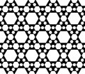 Monochrome seamless pattern, black & white hexagonal structure