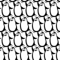 Monochrome seamless pattern with cartoon penguins kids ba endless backgrounds background Stock Photo