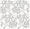Monochrome seamless pattern with flowers, paisley, stock vector illustration