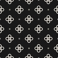 Monochrome seamless pattern, geometric vector texture, smooth ou