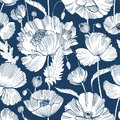 Monochrome seamless pattern with gorgeous blooming wild poppy flowers, leaves and seed heads hand drawn with contour