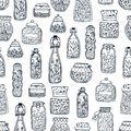 Monochrome seamless pattern with homemade preserves in glass jars and bottles hand drawn with black contour lines on