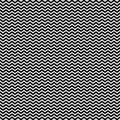 Monochrome seamless pattern, horizontal smooth zig-zag lines
