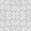 Monochrome Seamless Pattern with Mosaic Floral Motif