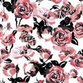 Monochrome Seamless Pattern with Vintage Roses Royalty Free Stock Photo