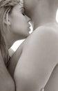 Monochrome sensuality intimate image of sensual couple cuddling Royalty Free Stock Photos