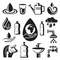 Monochrome set of different symbols of water Stock Image