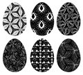 Monochrome set easter eggs pattern white background Royalty Free Stock Photography