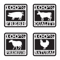 Monochrome set four butcher shop labels Royalty Free Stock Image