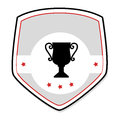 Monochrome shield with trophy cup and stars