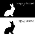 Monochrome silhouette of an easter bunny design e uncolored card vector art illustration Stock Photography