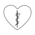 monochrome silhouette of heart with asclepius snake coiled