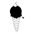 Monochrome silhouette with ice cream cone with cherry