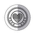 monochrome silhouette sticker with united states flag in shape of heart in round frame with hearts Royalty Free Stock Photo