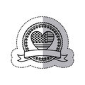 monochrome silhouette sticker with united states flag in shape of heart in round frame with hearts and ribbon Royalty Free Stock Photo