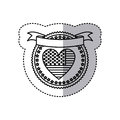 monochrome silhouette sticker with united states flag in shape of heart in round frame with hearts and ribbon on top Royalty Free Stock Photo